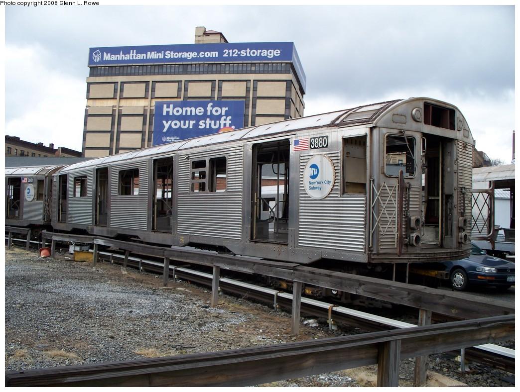 (261k, 1044x788)<br><b>Country:</b> United States<br><b>City:</b> New York<br><b>System:</b> New York City Transit<br><b>Location:</b> 207th Street Yard<br><b>Car:</b> R-32 (GE Rebuild) 3880 <br><b>Photo by:</b> Glenn L. Rowe<br><b>Date:</b> 1/30/2008<br><b>Viewed (this week/total):</b> 0 / 2319