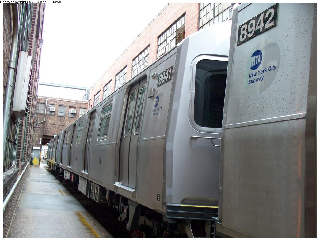 (207k, 1044x788)<br><b>Country:</b> United States<br><b>City:</b> New York<br><b>System:</b> New York City Transit<br><b>Location:</b> 207th Street Yard<br><b>Car:</b> R-160B (Kawasaki, 2005-2008)  8941 <br><b>Photo by:</b> Glenn L. Rowe<br><b>Date:</b> 1/30/2008<br><b>Viewed (this week/total):</b> 0 / 2437