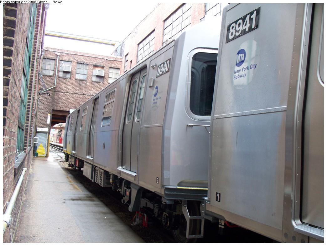(214k, 1044x788)<br><b>Country:</b> United States<br><b>City:</b> New York<br><b>System:</b> New York City Transit<br><b>Location:</b> 207th Street Yard<br><b>Car:</b> R-160B (Kawasaki, 2005-2008)  8940 <br><b>Photo by:</b> Glenn L. Rowe<br><b>Date:</b> 1/30/2008<br><b>Viewed (this week/total):</b> 0 / 1738