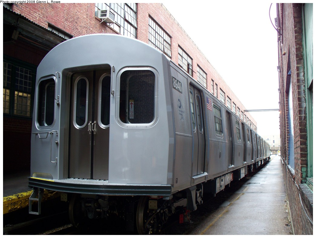 (211k, 1044x788)<br><b>Country:</b> United States<br><b>City:</b> New York<br><b>System:</b> New York City Transit<br><b>Location:</b> 207th Street Yard<br><b>Car:</b> R-160B (Kawasaki, 2005-2008)  8940 <br><b>Photo by:</b> Glenn L. Rowe<br><b>Date:</b> 1/30/2008<br><b>Viewed (this week/total):</b> 0 / 3546
