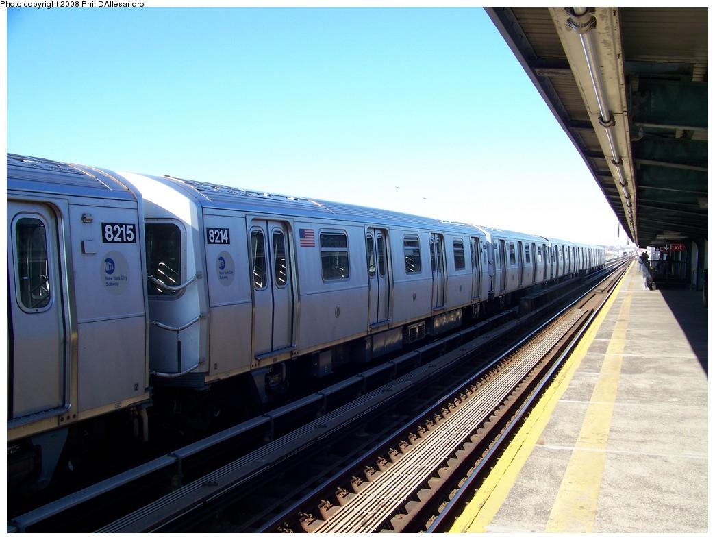 (206k, 1044x788)<br><b>Country:</b> United States<br><b>City:</b> New York<br><b>System:</b> New York City Transit<br><b>Line:</b> BMT Culver Line<br><b>Location:</b> Avenue X <br><b>Route:</b> Testing<br><b>Car:</b> R-143 (Kawasaki, 2001-2002) 8214 <br><b>Photo by:</b> Philip D'Allesandro<br><b>Date:</b> 1/23/2008<br><b>Viewed (this week/total):</b> 0 / 2373