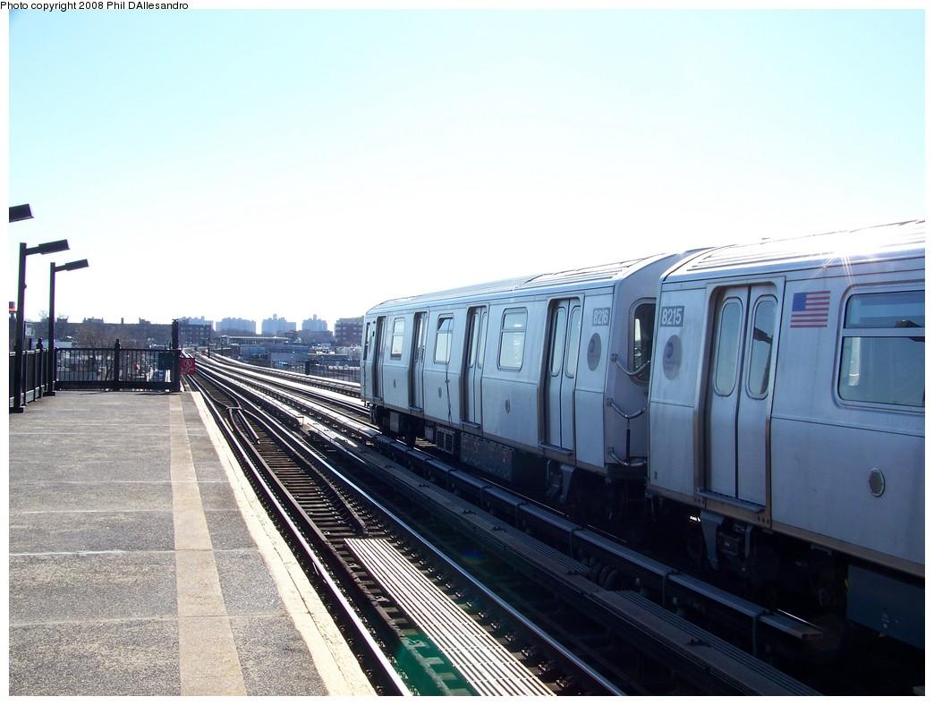 (195k, 1044x788)<br><b>Country:</b> United States<br><b>City:</b> New York<br><b>System:</b> New York City Transit<br><b>Line:</b> BMT Culver Line<br><b>Location:</b> Avenue X <br><b>Route:</b> Testing<br><b>Car:</b> R-143 (Kawasaki, 2001-2002) 8216 <br><b>Photo by:</b> Philip D'Allesandro<br><b>Date:</b> 1/23/2008<br><b>Viewed (this week/total):</b> 0 / 1673