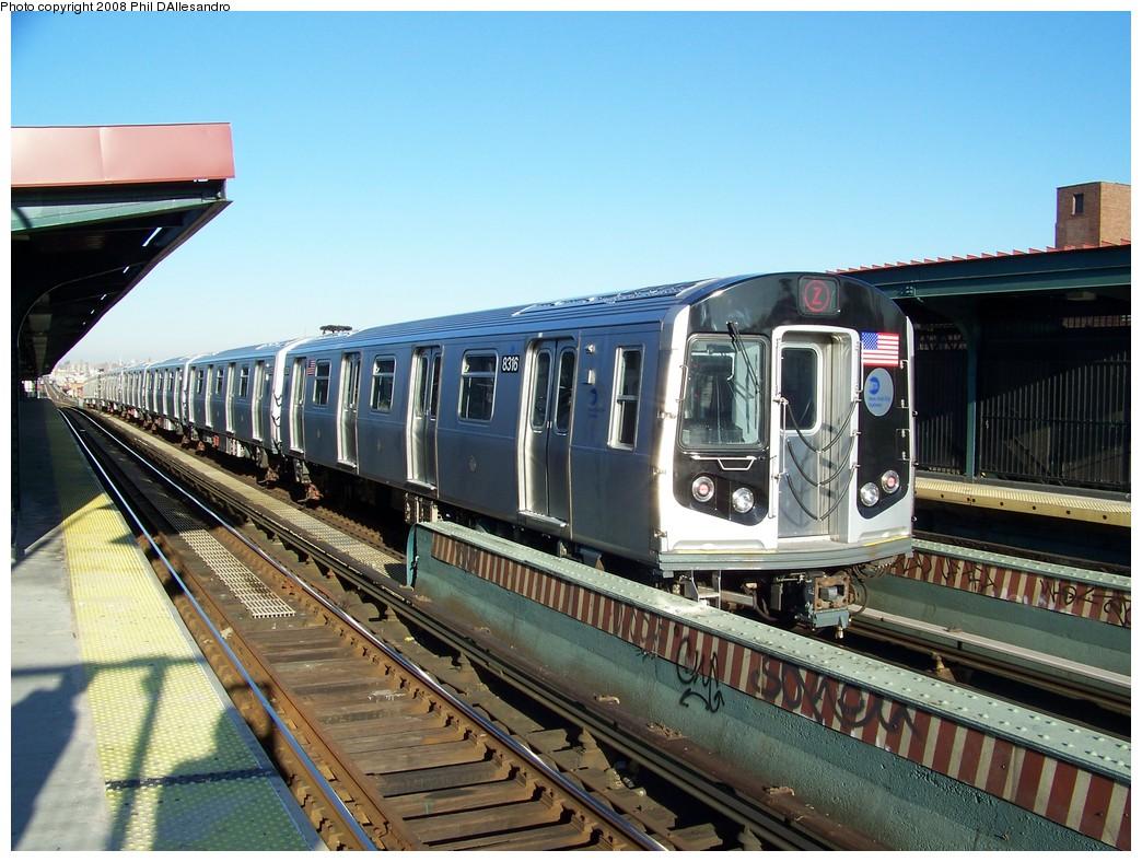 (242k, 1044x788)<br><b>Country:</b> United States<br><b>City:</b> New York<br><b>System:</b> New York City Transit<br><b>Line:</b> BMT Nassau Street/Jamaica Line<br><b>Location:</b> Chauncey Street <br><b>Route:</b> Z<br><b>Car:</b> R-160A-1 (Alstom, 2005-2008, 4 car sets)  8316 <br><b>Photo by:</b> Philip D'Allesandro<br><b>Date:</b> 1/23/2008<br><b>Viewed (this week/total):</b> 1 / 2640