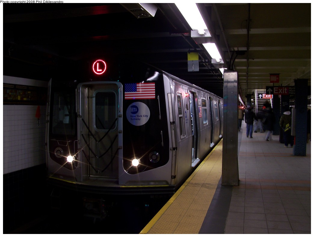 (142k, 1044x788)<br><b>Country:</b> United States<br><b>City:</b> New York<br><b>System:</b> New York City Transit<br><b>Line:</b> BMT Canarsie Line<br><b>Location:</b> Myrtle Avenue <br><b>Route:</b> L<br><b>Car:</b> R-160A-1 (Alstom, 2005-2008, 4 car sets)  8372 <br><b>Photo by:</b> Philip D'Allesandro<br><b>Date:</b> 1/23/2008<br><b>Viewed (this week/total):</b> 1 / 2479