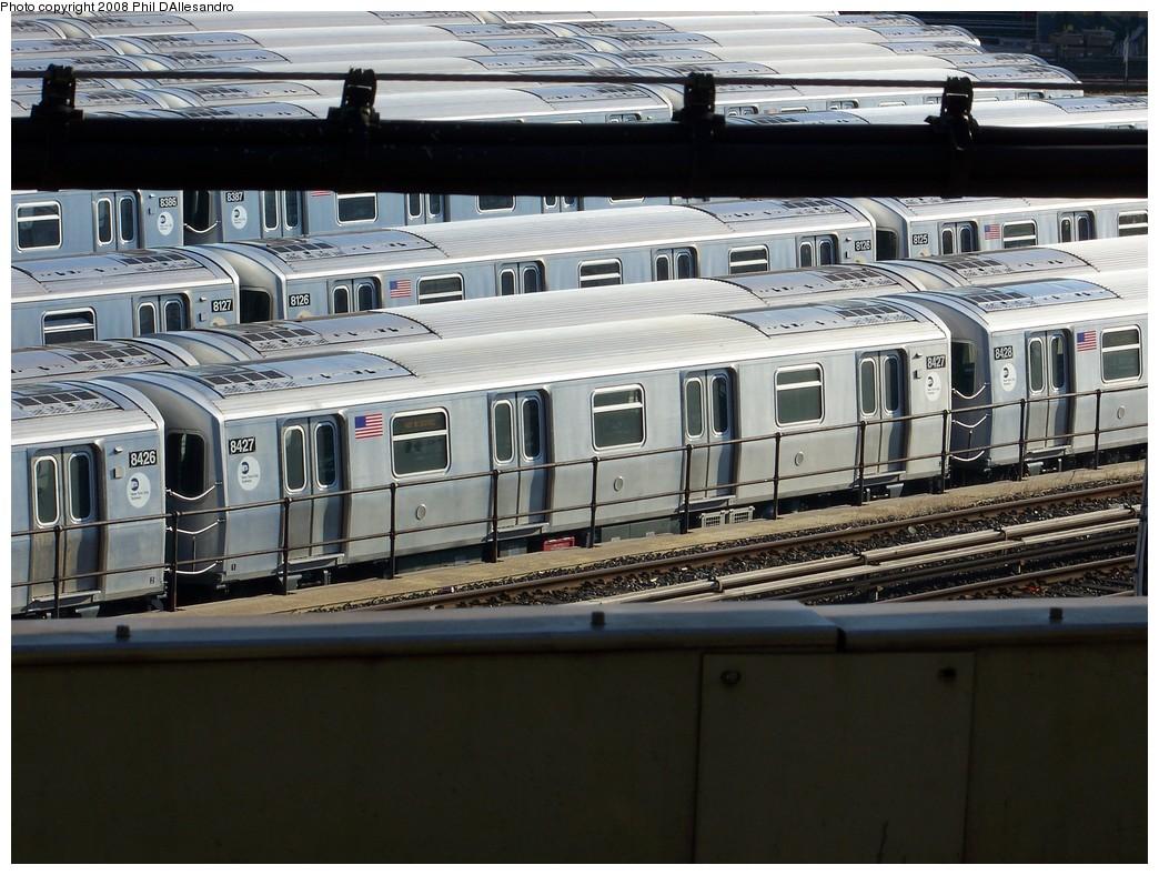 (235k, 1044x788)<br><b>Country:</b> United States<br><b>City:</b> New York<br><b>System:</b> New York City Transit<br><b>Location:</b> East New York Yard/Shops<br><b>Car:</b> R-160A-1 (Alstom, 2005-2008, 4 car sets)  8427 <br><b>Photo by:</b> Philip D'Allesandro<br><b>Date:</b> 1/23/2008<br><b>Viewed (this week/total):</b> 0 / 1883