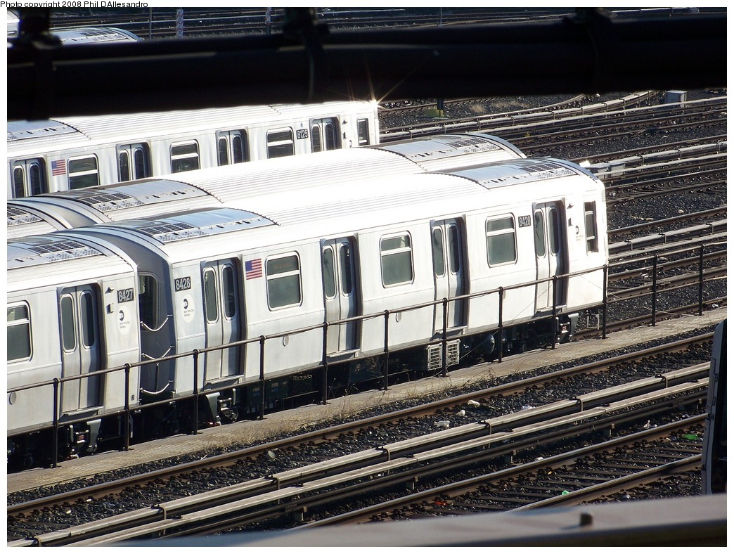(293k, 1044x788)<br><b>Country:</b> United States<br><b>City:</b> New York<br><b>System:</b> New York City Transit<br><b>Location:</b> East New York Yard/Shops<br><b>Car:</b> R-160A-1 (Alstom, 2005-2008, 4 car sets) 8428 <br><b>Photo by:</b> Philip D'Allesandro<br><b>Date:</b> 1/23/2008<br><b>Viewed (this week/total):</b> 0 / 2703