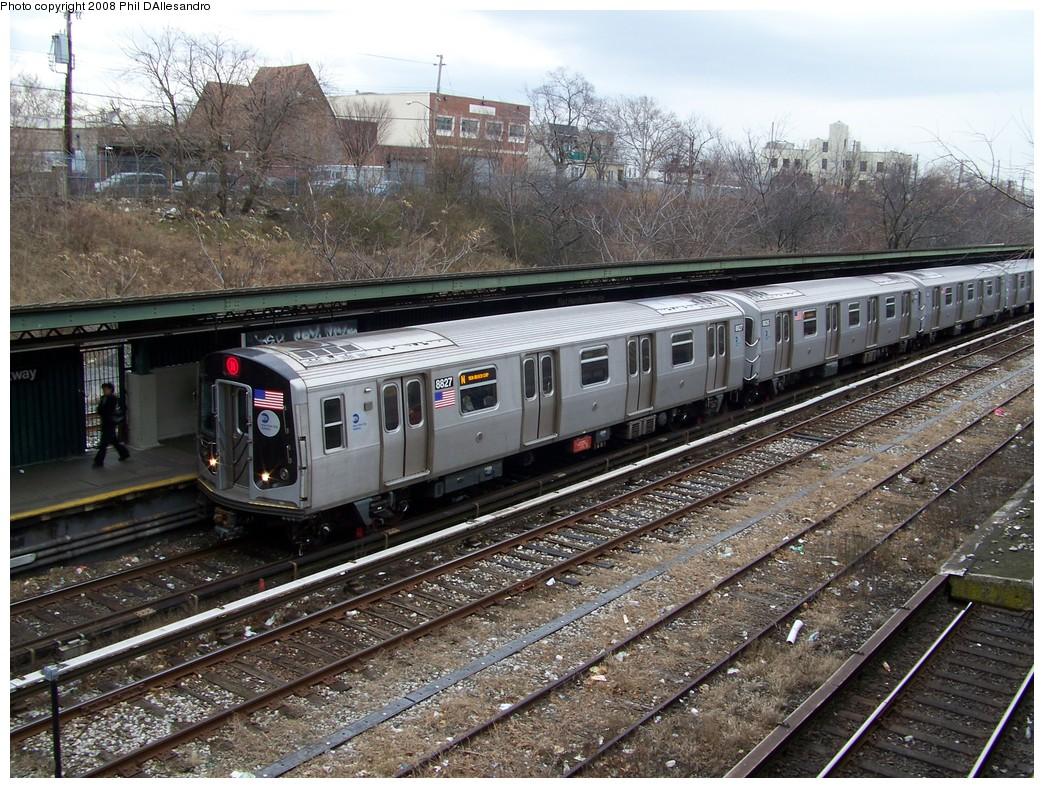 (312k, 1044x788)<br><b>Country:</b> United States<br><b>City:</b> New York<br><b>System:</b> New York City Transit<br><b>Line:</b> BMT Sea Beach Line<br><b>Location:</b> Fort Hamilton Parkway <br><b>Route:</b> N<br><b>Car:</b> R-160B (Kawasaki, 2005-2008)  8827 <br><b>Photo by:</b> Philip D'Allesandro<br><b>Date:</b> 1/22/2008<br><b>Viewed (this week/total):</b> 0 / 2550