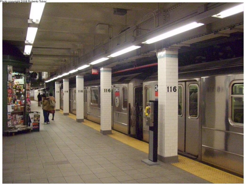(203k, 1044x791)<br><b>Country:</b> United States<br><b>City:</b> New York<br><b>System:</b> New York City Transit<br><b>Line:</b> IRT West Side Line<br><b>Location:</b> 116th Street/Columbia University <br><b>Route:</b> 1<br><b>Car:</b> R-62A (Bombardier, 1984-1987)  2463 <br><b>Photo by:</b> Roberto C. Tobar<br><b>Date:</b> 1/19/2008<br><b>Viewed (this week/total):</b> 0 / 3945