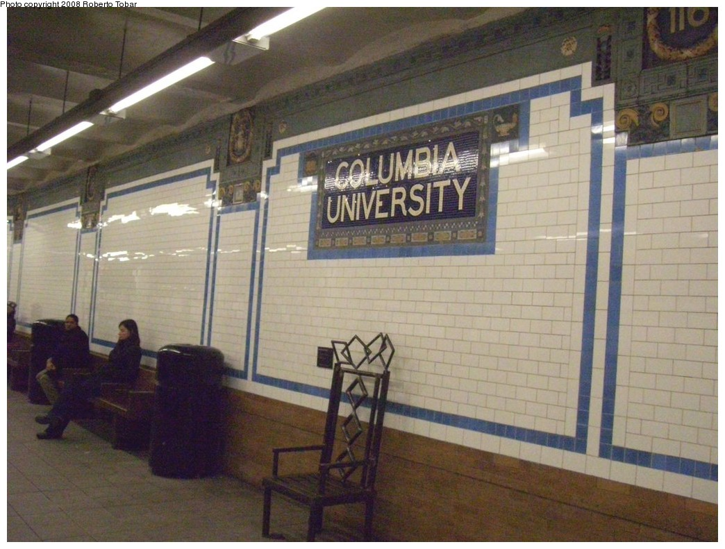 (213k, 1044x791)<br><b>Country:</b> United States<br><b>City:</b> New York<br><b>System:</b> New York City Transit<br><b>Line:</b> IRT West Side Line<br><b>Location:</b> 116th Street/Columbia University <br><b>Photo by:</b> Roberto C. Tobar<br><b>Date:</b> 1/19/2008<br><b>Artwork:</b> <i>Railrider's Throne</i>, Michelle Greene (1991).<br><b>Notes:</b> Wall tile and Railriders Throne.<br><b>Viewed (this week/total):</b> 4 / 3092