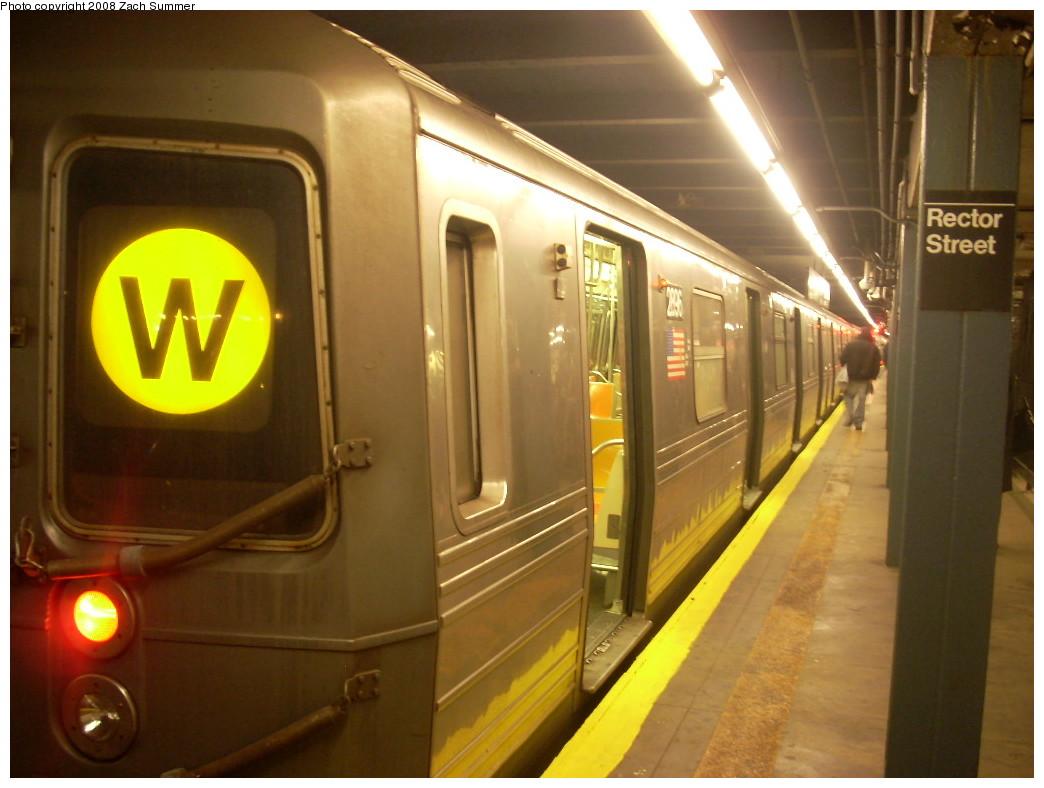(216k, 1044x788)<br><b>Country:</b> United States<br><b>City:</b> New York<br><b>System:</b> New York City Transit<br><b>Line:</b> BMT Broadway Line<br><b>Location:</b> Rector Street <br><b>Route:</b> W<br><b>Car:</b> R-68 (Westinghouse-Amrail, 1986-1988)  2896 <br><b>Photo by:</b> Zach Summer<br><b>Date:</b> 12/17/2007<br><b>Viewed (this week/total):</b> 2 / 2655