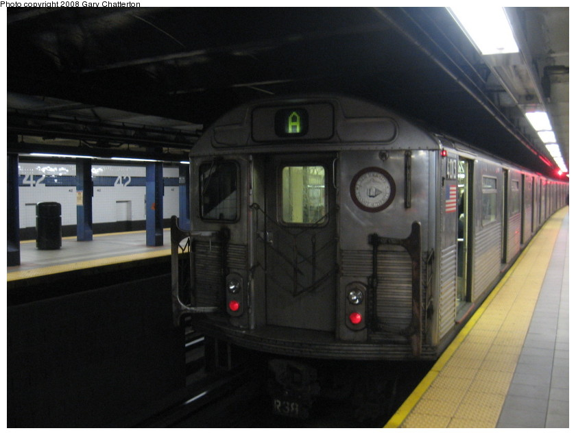 (109k, 840x635)<br><b>Country:</b> United States<br><b>City:</b> New York<br><b>System:</b> New York City Transit<br><b>Line:</b> IND 8th Avenue Line<br><b>Location:</b> 42nd Street/Port Authority Bus Terminal <br><b>Route:</b> A<br><b>Car:</b> R-38 (St. Louis, 1966-1967)  4103 <br><b>Photo by:</b> Gary Chatterton<br><b>Date:</b> 1/22/2008<br><b>Viewed (this week/total):</b> 2 / 3315