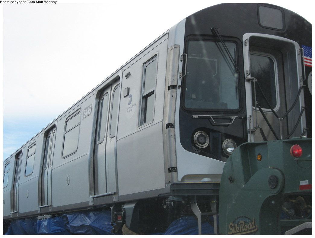 (145k, 1044x788)<br><b>Country:</b> United States<br><b>City:</b> New York<br><b>System:</b> New York City Transit<br><b>Car:</b> R-160A-1 (Alstom, 2005-2008, 4 car sets)  8449 <br><b>Photo by:</b> Matt Rodney<br><b>Date:</b> 1/31/2008<br><b>Notes:</b> R160A 8449 being delivered by truck along I-86 in New York state.<br><b>Viewed (this week/total):</b> 0 / 1796