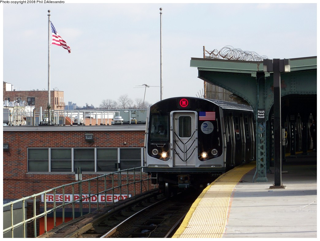 (203k, 1044x788)<br><b>Country:</b> United States<br><b>City:</b> New York<br><b>System:</b> New York City Transit<br><b>Line:</b> BMT Myrtle Avenue Line<br><b>Location:</b> Fresh Pond Road <br><b>Route:</b> M<br><b>Car:</b> R-160A-1 (Alstom, 2005-2008, 4 car sets)   <br><b>Photo by:</b> Philip D'Allesandro<br><b>Date:</b> 2/2/2008<br><b>Notes:</b> First time ever R160s operated the M Line in service.<br><b>Viewed (this week/total):</b> 5 / 2774