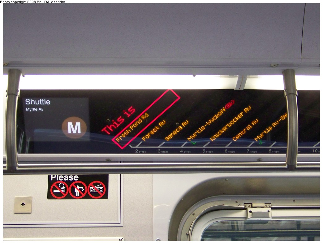 (181k, 1044x788)<br><b>Country:</b> United States<br><b>City:</b> New York<br><b>System:</b> New York City Transit<br><b>Route:</b> M<br><b>Car:</b> R-160A-1 (Alstom, 2005-2008, 4 car sets) Interior <br><b>Photo by:</b> Philip D'Allesandro<br><b>Date:</b> 2/2/2008<br><b>Notes:</b> First time ever R160s operated the M Line in service.<br><b>Viewed (this week/total):</b> 0 / 5126