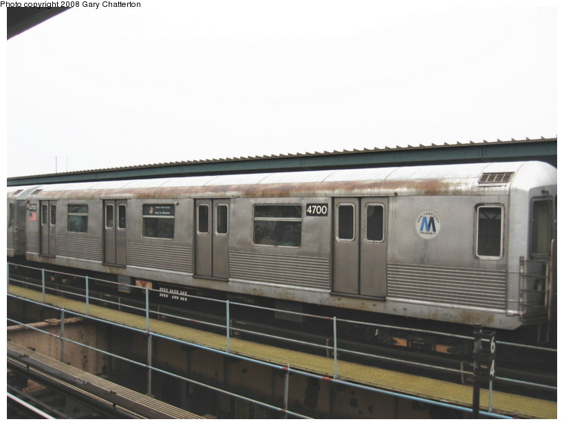 (96k, 820x620)<br><b>Country:</b> United States<br><b>City:</b> New York<br><b>System:</b> New York City Transit<br><b>Line:</b> BMT Nassau Street/Jamaica Line<br><b>Location:</b> Woodhaven Boulevard <br><b>Route:</b> J<br><b>Car:</b> R-42 (St. Louis, 1969-1970)  4700 <br><b>Photo by:</b> Gary Chatterton<br><b>Date:</b> 1/29/2008<br><b>Viewed (this week/total):</b> 1 / 1983