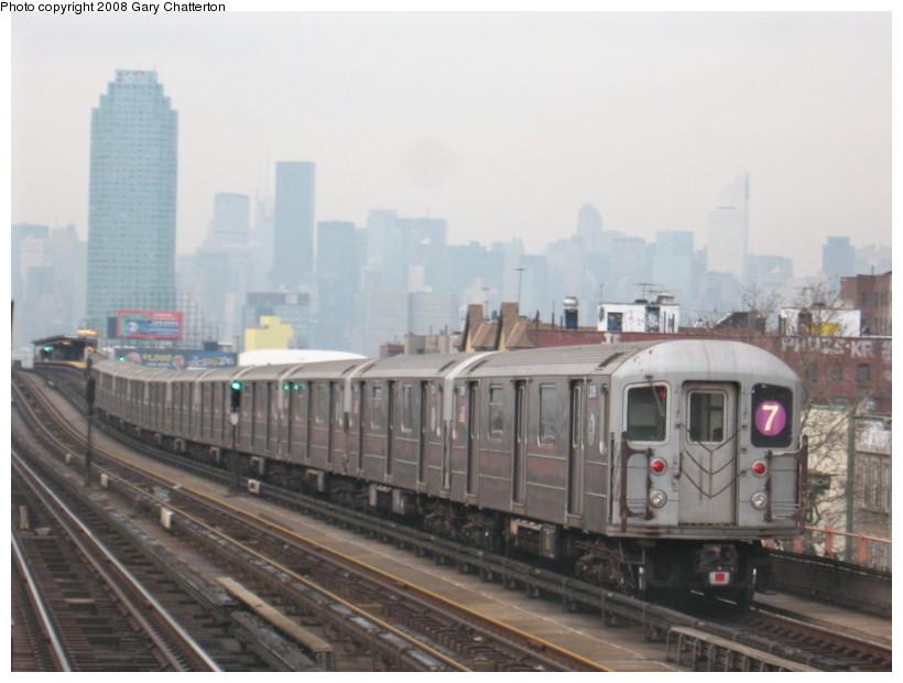 (109k, 820x620)<br><b>Country:</b> United States<br><b>City:</b> New York<br><b>System:</b> New York City Transit<br><b>Line:</b> IRT Flushing Line<br><b>Location:</b> 46th Street/Bliss Street <br><b>Route:</b> 7<br><b>Car:</b> R-62A (Bombardier, 1984-1987)  2095 <br><b>Photo by:</b> Gary Chatterton<br><b>Date:</b> 1/29/2008<br><b>Viewed (this week/total):</b> 0 / 1930