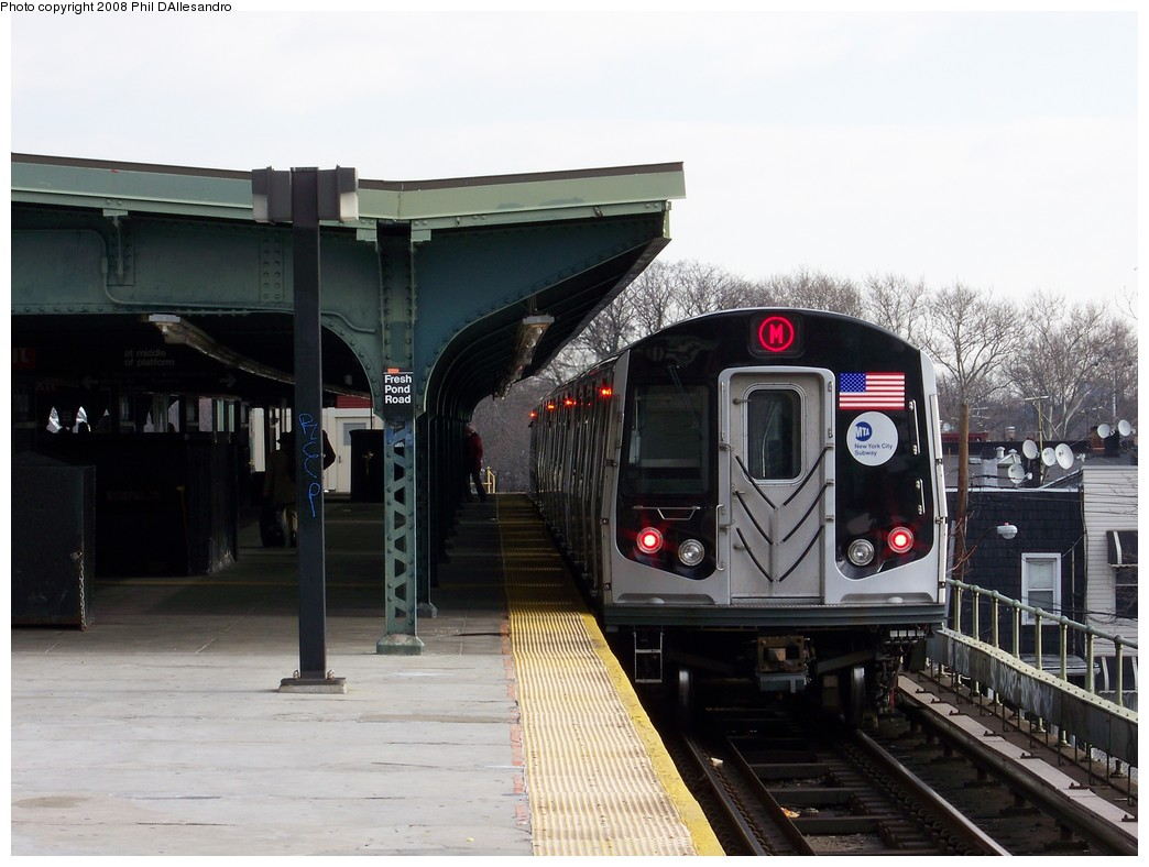 (191k, 1044x788)<br><b>Country:</b> United States<br><b>City:</b> New York<br><b>System:</b> New York City Transit<br><b>Line:</b> BMT Myrtle Avenue Line<br><b>Location:</b> Fresh Pond Road <br><b>Route:</b> M<br><b>Car:</b> R-160A-1 (Alstom, 2005-2008, 4 car sets)  8329 <br><b>Photo by:</b> Philip D'Allesandro<br><b>Date:</b> 2/2/2008<br><b>Notes:</b> First time ever R160s operated the M Line in service.<br><b>Viewed (this week/total):</b> 0 / 2585