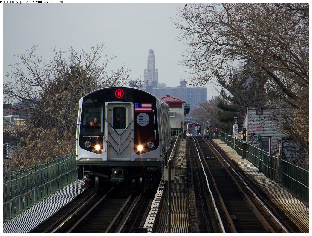 (309k, 1044x788)<br><b>Country:</b> United States<br><b>City:</b> New York<br><b>System:</b> New York City Transit<br><b>Line:</b> BMT Myrtle Avenue Line<br><b>Location:</b> Fresh Pond Road <br><b>Route:</b> M<br><b>Car:</b> R-160A-1 (Alstom, 2005-2008, 4 car sets)  8332 <br><b>Photo by:</b> Philip D'Allesandro<br><b>Date:</b> 2/2/2008<br><b>Notes:</b> First time ever R160s operated the M Line in service.<br><b>Viewed (this week/total):</b> 0 / 2924