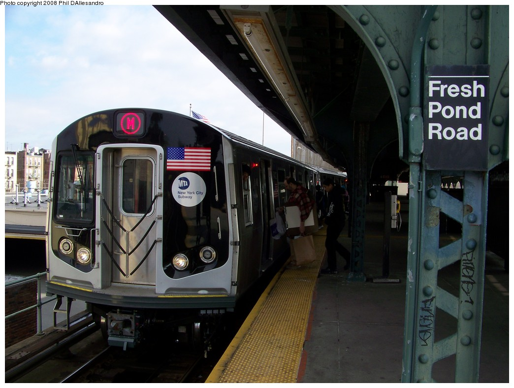(196k, 1044x788)<br><b>Country:</b> United States<br><b>City:</b> New York<br><b>System:</b> New York City Transit<br><b>Line:</b> BMT Myrtle Avenue Line<br><b>Location:</b> Fresh Pond Road <br><b>Route:</b> M<br><b>Car:</b> R-160A-1 (Alstom, 2005-2008, 4 car sets)  8412 <br><b>Photo by:</b> Philip D'Allesandro<br><b>Date:</b> 2/2/2008<br><b>Notes:</b> First time ever R160s operated the M Line in service.<br><b>Viewed (this week/total):</b> 5 / 3071