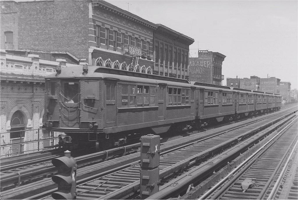 (215k, 1024x686)<br><b>Country:</b> United States<br><b>City:</b> New York<br><b>System:</b> New York City Transit<br><b>Line:</b> 3rd Avenue El<br><b>Location:</b> Claremont Parkway <br><b>Car:</b> Low-V 4756 <br><b>Photo by:</b> Harry Pinsker<br><b>Date:</b> 7/7/1959<br><b>Viewed (this week/total):</b> 3 / 5677