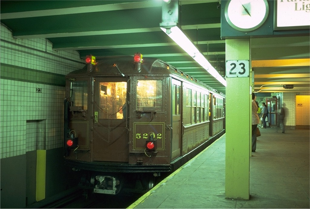 (176k, 1024x691)<br><b>Country:</b> United States<br><b>City:</b> New York<br><b>System:</b> New York City Transit<br><b>Line:</b> IND 6th Avenue Line<br><b>Location:</b> 23rd Street <br><b>Route:</b> Fan Trip<br><b>Car:</b> Low-V (Museum Train) 5292 <br><b>Photo by:</b> Doug Grotjahn<br><b>Collection of:</b> Joe Testagrose<br><b>Date:</b> 5/12/1979<br><b>Viewed (this week/total):</b> 0 / 4815