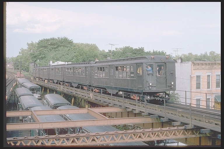 (117k, 768x512)<br><b>Country:</b> United States<br><b>City:</b> New York<br><b>System:</b> New York City Transit<br><b>Line:</b> BMT Myrtle Avenue Line<br><b>Location:</b> Fresh Pond Road <br><b>Route:</b> Fan Trip<br><b>Car:</b> Low-V (Museum Train) 5292 <br><b>Photo by:</b> Joe Testagrose<br><b>Date:</b> 5/26/1974<br><b>Viewed (this week/total):</b> 0 / 4233