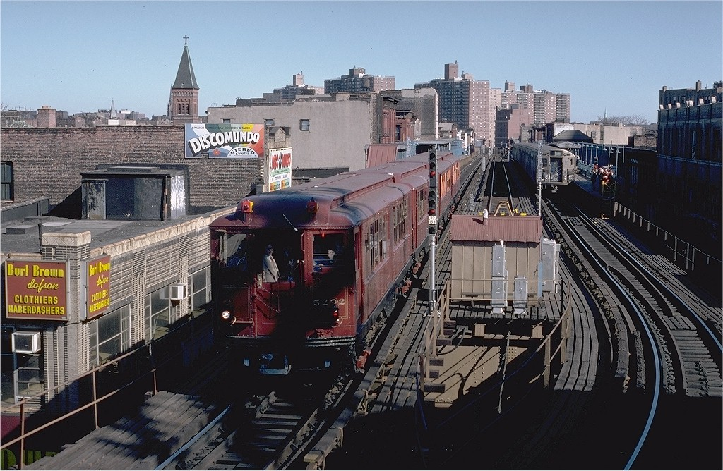 (237k, 1024x668)<br><b>Country:</b> United States<br><b>City:</b> New York<br><b>System:</b> New York City Transit<br><b>Line:</b> BMT Nassau Street/Jamaica Line<br><b>Location:</b> Marcy Avenue <br><b>Route:</b> Fan Trip<br><b>Car:</b> Low-V (Museum Train) 5292 <br><b>Photo by:</b> Steve Zabel<br><b>Collection of:</b> Joe Testagrose<br><b>Date:</b> 3/23/1979<br><b>Viewed (this week/total):</b> 6 / 3947