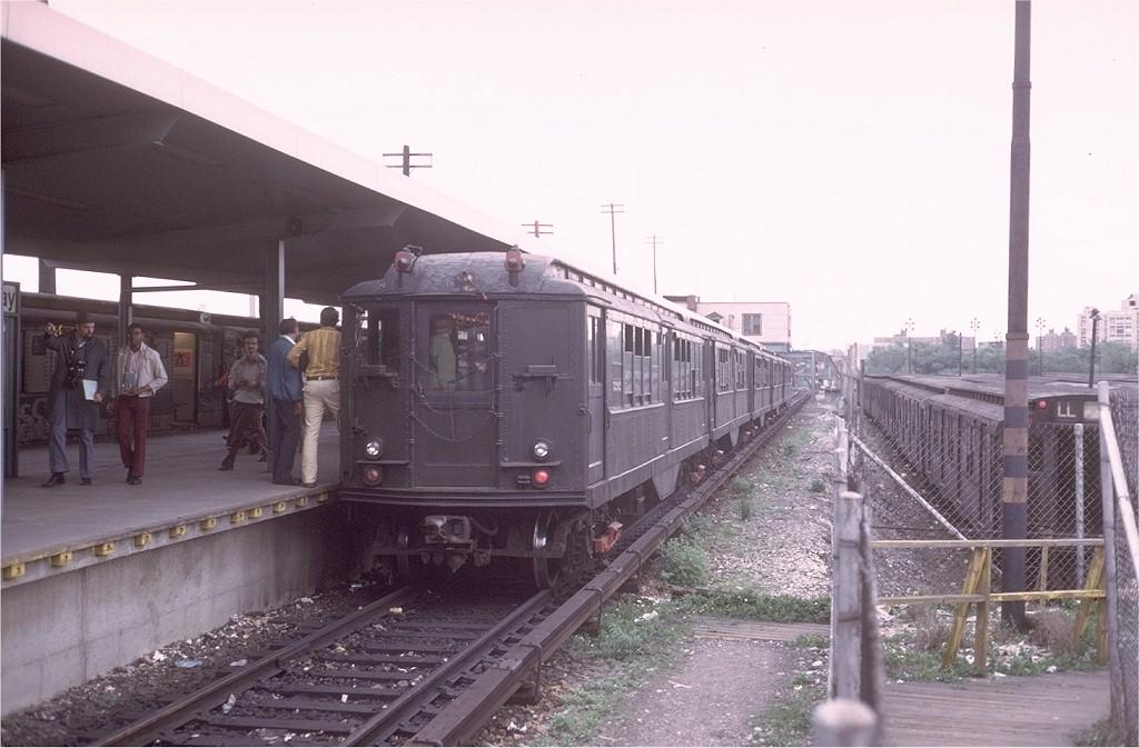 (168k, 1024x673)<br><b>Country:</b> United States<br><b>City:</b> New York<br><b>System:</b> New York City Transit<br><b>Line:</b> BMT Canarsie Line<br><b>Location:</b> Rockaway Parkway <br><b>Route:</b> Fan Trip<br><b>Car:</b> Low-V (Museum Train) 5292 <br><b>Photo by:</b> Joe Testagrose<br><b>Date:</b> 5/26/1974<br><b>Viewed (this week/total):</b> 7 / 3612