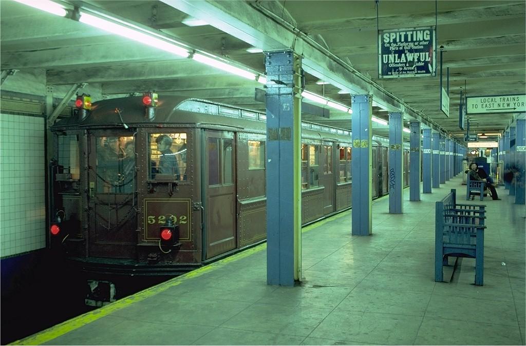 (196k, 1024x675)<br><b>Country:</b> United States<br><b>City:</b> New York<br><b>System:</b> New York City Transit<br><b>Line:</b> IRT Brooklyn Line<br><b>Location:</b> Utica Avenue <br><b>Route:</b> Fan Trip<br><b>Car:</b> Low-V (Museum Train) 5292 <br><b>Photo by:</b> Joe Testagrose<br><b>Date:</b> 11/3/1979<br><b>Viewed (this week/total):</b> 0 / 7202