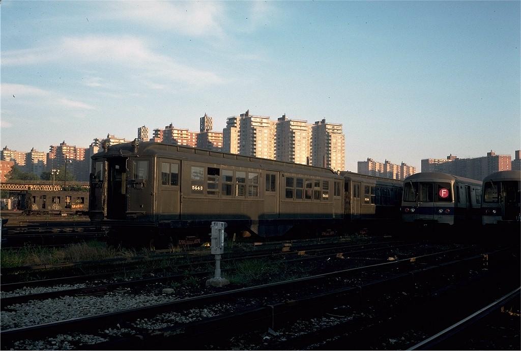 (187k, 1024x690)<br><b>Country:</b> United States<br><b>City:</b> New York<br><b>System:</b> New York City Transit<br><b>Location:</b> Coney Island Yard-Museum Yard<br><b>Car:</b> Low-V (Museum Train) 5443 <br><b>Photo by:</b> Steve Zabel<br><b>Collection of:</b> Joe Testagrose<br><b>Date:</b> 9/13/1976<br><b>Viewed (this week/total):</b> 0 / 2873