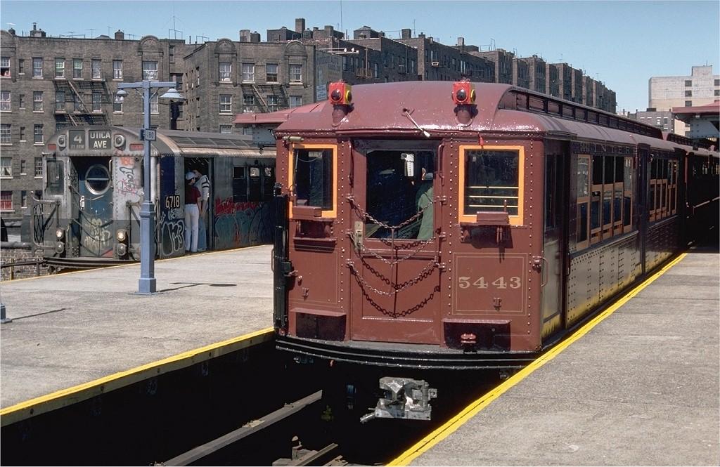 (224k, 1024x665)<br><b>Country:</b> United States<br><b>City:</b> New York<br><b>System:</b> New York City Transit<br><b>Line:</b> IRT Woodlawn Line<br><b>Location:</b> Burnside Avenue <br><b>Route:</b> Fan Trip<br><b>Car:</b> Low-V (Museum Train) 5443 <br><b>Photo by:</b> Doug Grotjahn<br><b>Collection of:</b> Joe Testagrose<br><b>Date:</b> 5/5/1979<br><b>Viewed (this week/total):</b> 0 / 3359