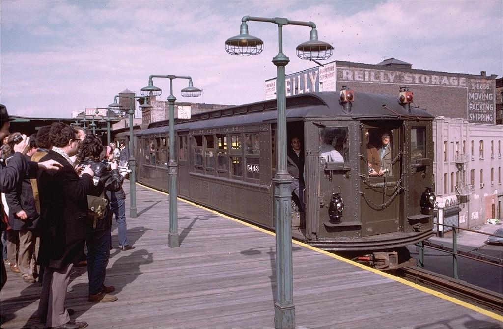 (214k, 1024x670)<br><b>Country:</b> United States<br><b>City:</b> New York<br><b>System:</b> New York City Transit<br><b>Line:</b> 3rd Avenue El<br><b>Location:</b> 149th Street <br><b>Route:</b> Fan Trip<br><b>Car:</b> Low-V (Museum Train) 5443 <br><b>Photo by:</b> Doug Grotjahn<br><b>Collection of:</b> Joe Testagrose<br><b>Date:</b> 4/29/1973<br><b>Notes:</b> Fantrip held day after closure of 3rd Avenue El<br><b>Viewed (this week/total):</b> 1 / 4293
