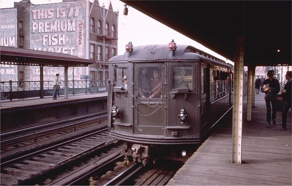 (220k, 1024x654)<br><b>Country:</b> United States<br><b>City:</b> New York<br><b>System:</b> New York City Transit<br><b>Line:</b> 3rd Avenue El<br><b>Location:</b> 161st Street <br><b>Route:</b> Fan Trip<br><b>Car:</b> Low-V (Museum Train) 5443 <br><b>Photo by:</b> Doug Grotjahn<br><b>Collection of:</b> Joe Testagrose<br><b>Date:</b> 4/29/1973<br><b>Notes:</b> Fantrip held day after closure of 3rd Avenue El<br><b>Viewed (this week/total):</b> 1 / 3936
