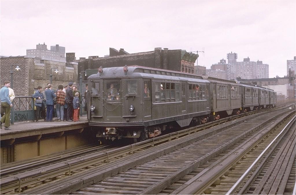 (189k, 1024x673)<br><b>Country:</b> United States<br><b>City:</b> New York<br><b>System:</b> New York City Transit<br><b>Line:</b> 3rd Avenue El<br><b>Location:</b> 166th Street <br><b>Route:</b> Fan Trip<br><b>Car:</b> Low-V (Museum Train) 5443 <br><b>Photo by:</b> Joe Testagrose<br><b>Date:</b> 4/29/1973<br><b>Notes:</b> Fantrip held day after closure of 3rd Avenue El<br><b>Viewed (this week/total):</b> 2 / 3678