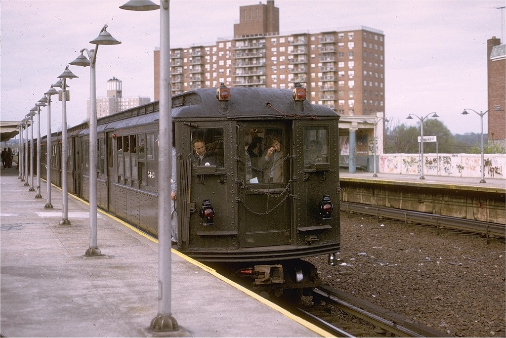 (225k, 1024x684)<br><b>Country:</b> United States<br><b>City:</b> New York<br><b>System:</b> New York City Transit<br><b>Line:</b> IRT Dyre Ave. Line<br><b>Location:</b> Baychester Avenue <br><b>Route:</b> Fan Trip<br><b>Car:</b> Low-V (Museum Train) 5443 <br><b>Photo by:</b> Joe Testagrose<br><b>Date:</b> 4/29/1973<br><b>Notes:</b> Fantrip held day after closure of 3rd Avenue El<br><b>Viewed (this week/total):</b> 2 / 3533