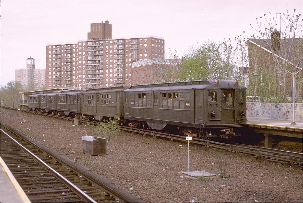 (233k, 1024x687)<br><b>Country:</b> United States<br><b>City:</b> New York<br><b>System:</b> New York City Transit<br><b>Line:</b> IRT Dyre Ave. Line<br><b>Location:</b> Baychester Avenue <br><b>Route:</b> Fan Trip<br><b>Car:</b> Low-V (Museum Train) 5443 <br><b>Photo by:</b> Joe Testagrose<br><b>Date:</b> 4/29/1973<br><b>Notes:</b> Fantrip held day after closure of 3rd Avenue El<br><b>Viewed (this week/total):</b> 1 / 3405