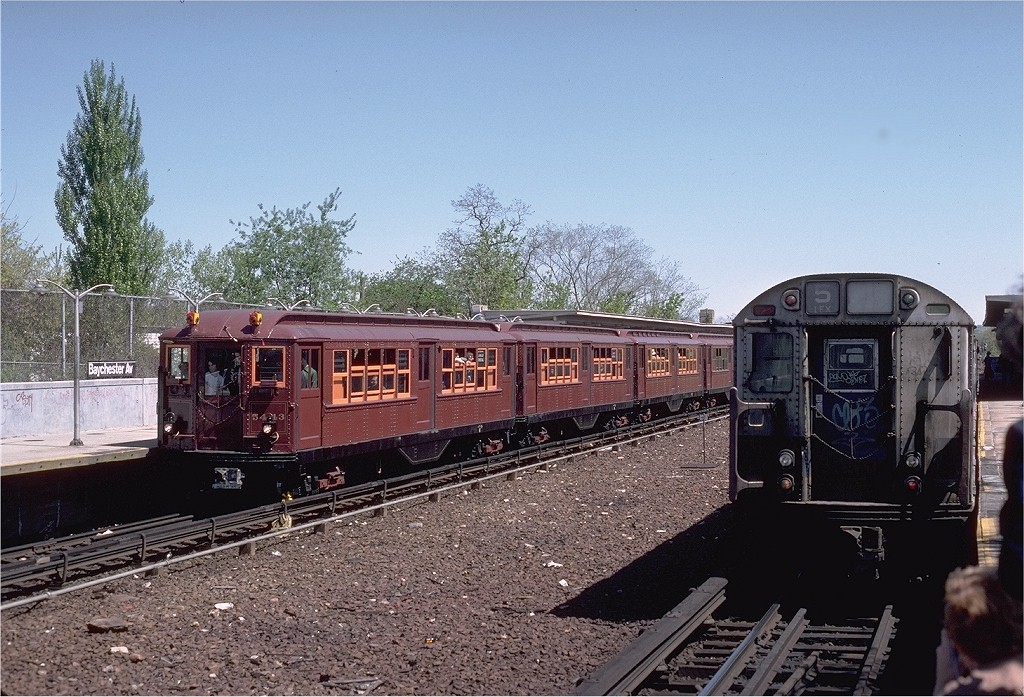 (248k, 1024x697)<br><b>Country:</b> United States<br><b>City:</b> New York<br><b>System:</b> New York City Transit<br><b>Line:</b> IRT Dyre Ave. Line<br><b>Location:</b> Baychester Avenue <br><b>Route:</b> Fan Trip<br><b>Car:</b> Low-V (Museum Train) 5443 <br><b>Photo by:</b> Steve Zabel<br><b>Collection of:</b> Joe Testagrose<br><b>Date:</b> 5/5/1979<br><b>Viewed (this week/total):</b> 0 / 3893