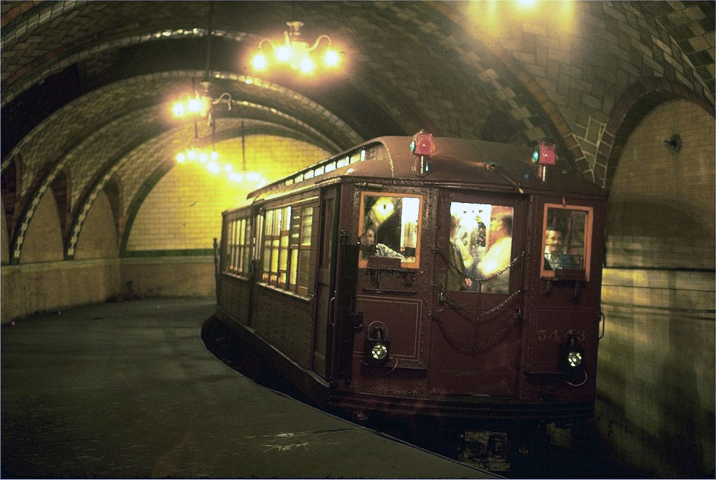 (175k, 1024x686)<br><b>Country:</b> United States<br><b>City:</b> New York<br><b>System:</b> New York City Transit<br><b>Line:</b> IRT East Side Line<br><b>Location:</b> City Hall <br><b>Route:</b> Fan Trip<br><b>Car:</b> Low-V (Museum Train) 5443 <br><b>Photo by:</b> Steve Zabel<br><b>Collection of:</b> Joe Testagrose<br><b>Date:</b> 9/25/1979<br><b>Viewed (this week/total):</b> 7 / 18151