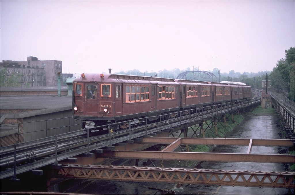 (169k, 1024x676)<br><b>Country:</b> United States<br><b>City:</b> New York<br><b>System:</b> New York City Transit<br><b>Line:</b> BMT Myrtle Avenue Line<br><b>Location:</b> Fresh Pond Road <br><b>Route:</b> Fan Trip<br><b>Car:</b> Low-V (Museum Train) 5443 <br><b>Photo by:</b> Gerald H. Landau<br><b>Collection of:</b> Joe Testagrose<br><b>Date:</b> 5/12/1979<br><b>Viewed (this week/total):</b> 1 / 4352