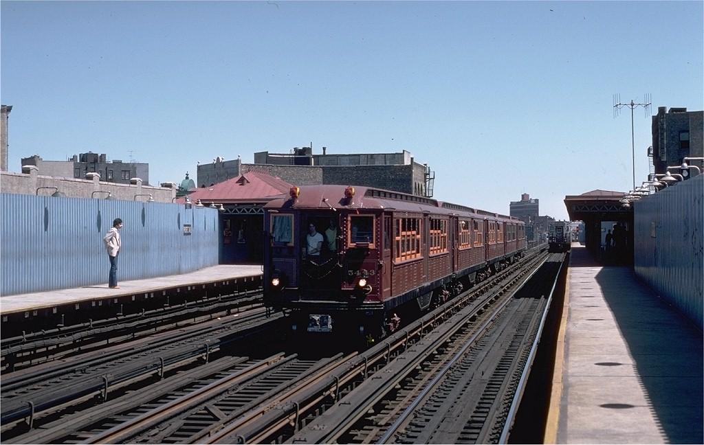 (184k, 1024x648)<br><b>Country:</b> United States<br><b>City:</b> New York<br><b>System:</b> New York City Transit<br><b>Line:</b> IRT White Plains Road Line<br><b>Location:</b> Prospect Avenue <br><b>Route:</b> Fan Trip<br><b>Car:</b> Low-V (Museum Train) 5443 <br><b>Photo by:</b> Steve Zabel<br><b>Collection of:</b> Joe Testagrose<br><b>Date:</b> 5/5/1979<br><b>Viewed (this week/total):</b> 1 / 3279