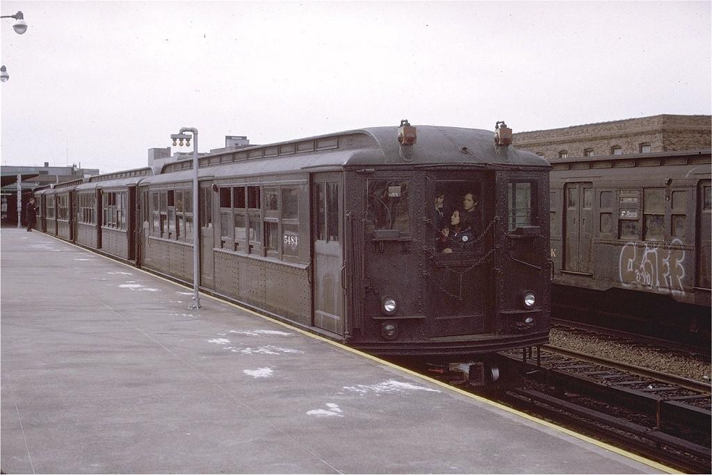 (209k, 1024x684)<br><b>Country:</b> United States<br><b>City:</b> New York<br><b>System:</b> New York City Transit<br><b>Line:</b> IND Rockaway<br><b>Location:</b> Rockaway Park/Beach 116th Street <br><b>Route:</b> Fan Trip<br><b>Car:</b> Low-V (Museum Train) 5443 <br><b>Photo by:</b> Gerald H. Landau<br><b>Collection of:</b> Joe Testagrose<br><b>Date:</b> 3/16/1975<br><b>Viewed (this week/total):</b> 0 / 2783
