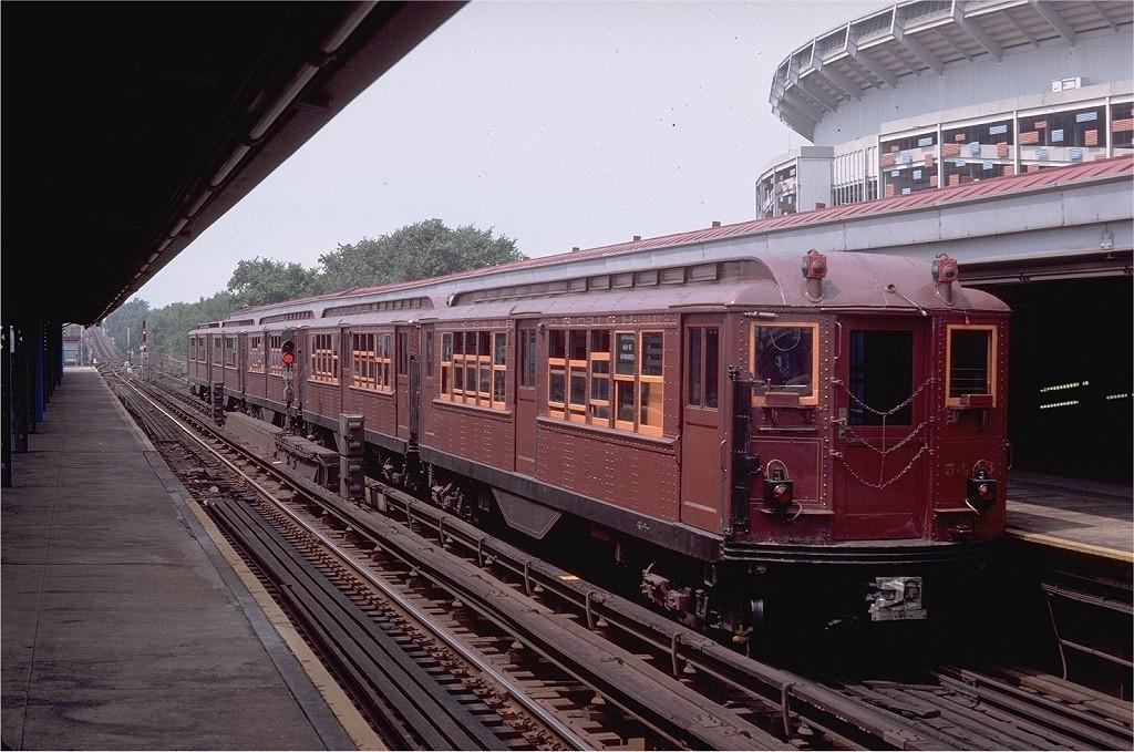(219k, 1024x679)<br><b>Country:</b> United States<br><b>City:</b> New York<br><b>System:</b> New York City Transit<br><b>Line:</b> IRT Flushing Line<br><b>Location:</b> Willets Point/Mets (fmr. Shea Stadium) <br><b>Route:</b> Fan Trip<br><b>Car:</b> Low-V (Museum Train) 5443 <br><b>Photo by:</b> Doug Grotjahn<br><b>Collection of:</b> Joe Testagrose<br><b>Date:</b> 8/1/1979<br><b>Viewed (this week/total):</b> 1 / 3413