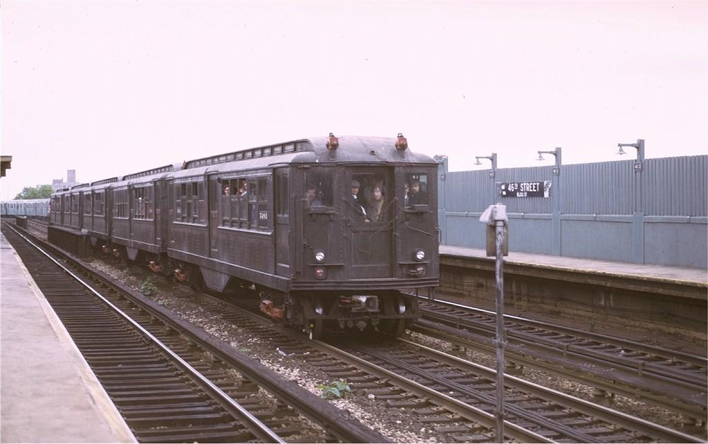 (143k, 1024x643)<br><b>Country:</b> United States<br><b>City:</b> New York<br><b>System:</b> New York City Transit<br><b>Line:</b> IRT Flushing Line<br><b>Location:</b> 46th Street/Bliss Street<br><b>Route:</b> Fan Trip<br><b>Car:</b> Low-V (Museum Train) 5483 <br><b>Photo by:</b> Joe Testagrose<br><b>Date:</b> 5/26/1974<br><b>Viewed (this week/total):</b> 1 / 4205