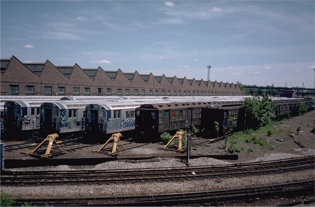 (223k, 1024x673)<br><b>Country:</b> United States<br><b>City:</b> New York<br><b>System:</b> New York City Transit<br><b>Location:</b> Westchester Yard<br><b>Car:</b> Low-V Worlds Fair 35672 (ex-5672)<br><b>Photo by:</b> Ed McKernan<br><b>Collection of:</b> Joe Testagrose<br><b>Date:</b> 5/1976<br><b>Viewed (this week/total):</b> 3 / 4234