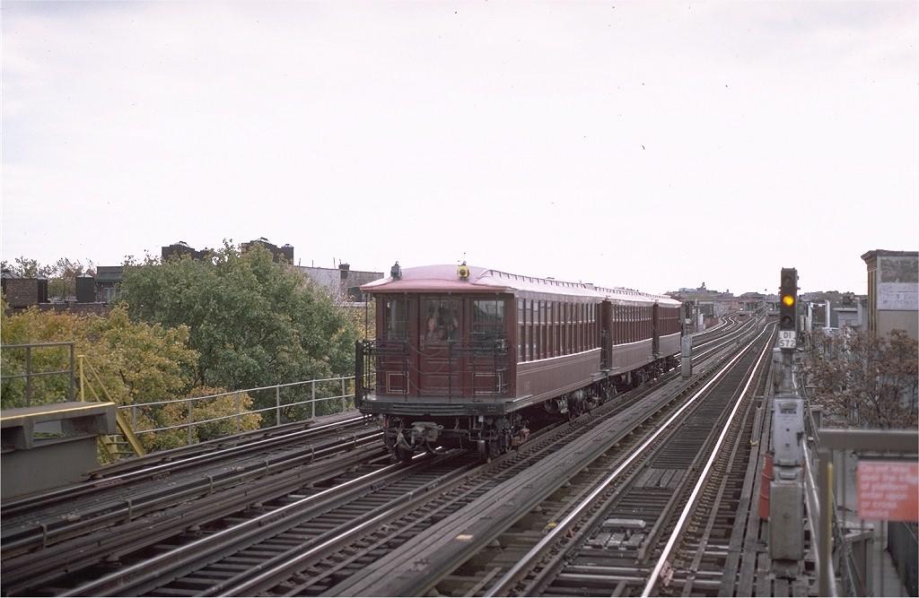 (168k, 1024x667)<br><b>Country:</b> United States<br><b>City:</b> New York<br><b>System:</b> New York City Transit<br><b>Line:</b> BMT West End Line<br><b>Location:</b> 55th Street <br><b>Route:</b> Fan Trip<br><b>Car:</b> BMT Elevated Gate Car 1407-1273-1404 <br><b>Photo by:</b> Steve Zabel<br><b>Collection of:</b> Joe Testagrose<br><b>Date:</b> 11/1/1980<br><b>Viewed (this week/total):</b> 1 / 3026