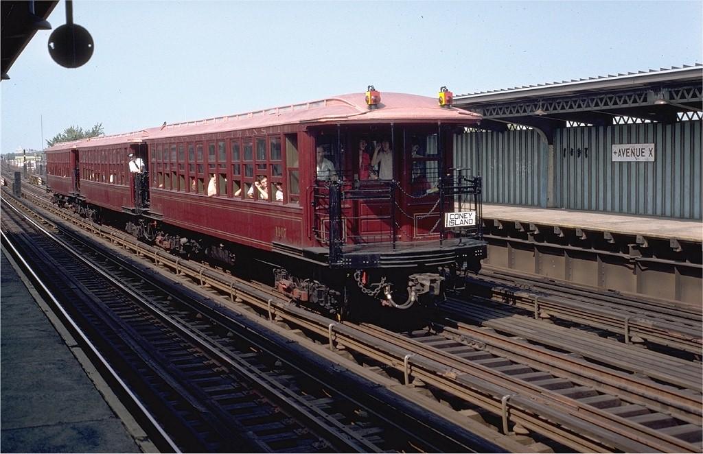 (213k, 1024x662)<br><b>Country:</b> United States<br><b>City:</b> New York<br><b>System:</b> New York City Transit<br><b>Line:</b> BMT Culver Line<br><b>Location:</b> Avenue X <br><b>Route:</b> Fan Trip<br><b>Car:</b> BMT Elevated Gate Car 1407-1273-1404 <br><b>Photo by:</b> Doug Grotjahn<br><b>Collection of:</b> Joe Testagrose<br><b>Date:</b> 9/1/1980<br><b>Viewed (this week/total):</b> 0 / 5146