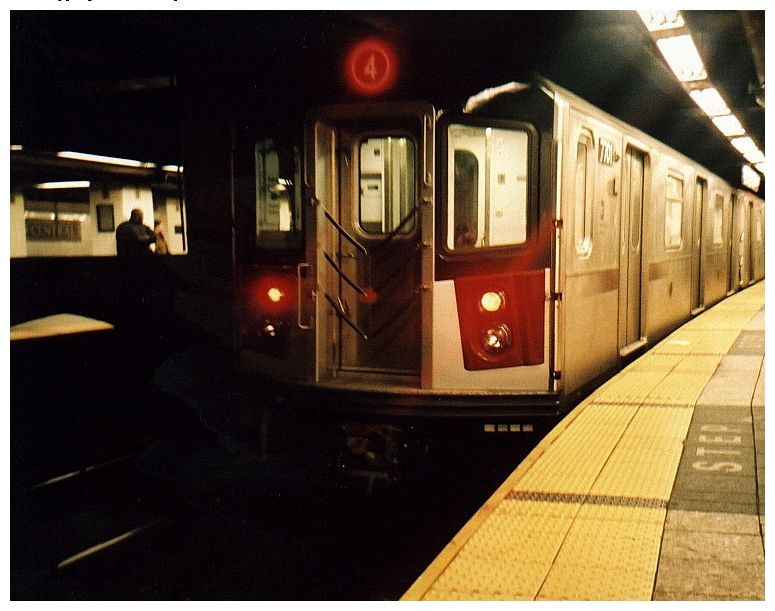 (77k, 775x611)<br><b>Country:</b> United States<br><b>City:</b> New York<br><b>System:</b> New York City Transit<br><b>Line:</b> IRT East Side Line<br><b>Location:</b> Grand Central <br><b>Route:</b> 4<br><b>Car:</b> R-142A (Option Order, Kawasaki, 2002-2003)  7701 <br><b>Photo by:</b> Gary Chatterton<br><b>Date:</b> 10/2002<br><b>Viewed (this week/total):</b> 2 / 5782