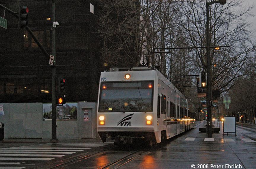 (226k, 864x569)<br><b>Country:</b> United States<br><b>City:</b> San Jose, CA<br><b>System:</b> Santa Clara VTA<br><b>Line:</b> VTA 1st St/Downtown/St. Teresa<br><b>Location:</b> Transit Mall-Santa Clara <br><b>Car:</b> VTA Kinki-Sharyo 996 <br><b>Photo by:</b> Peter Ehrlich<br><b>Date:</b> 1/24/2008<br><b>Notes:</b> 2nd Street/Santa Clara southbound.<br><b>Viewed (this week/total):</b> 0 / 839
