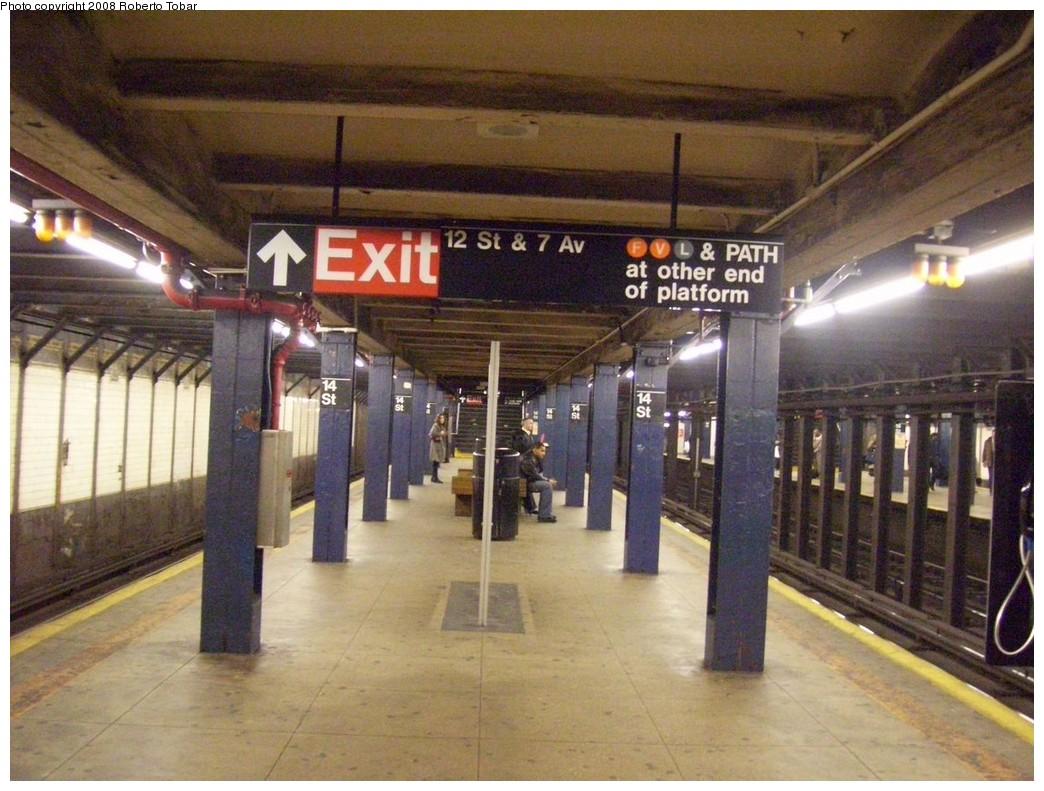 (229k, 1044x791)<br><b>Country:</b> United States<br><b>City:</b> New York<br><b>System:</b> New York City Transit<br><b>Line:</b> IRT West Side Line<br><b>Location:</b> 14th Street<br><b>Photo by:</b> Roberto C. Tobar<br><b>Date:</b> 2/6/2008<br><b>Viewed (this week/total):</b> 1 / 3632