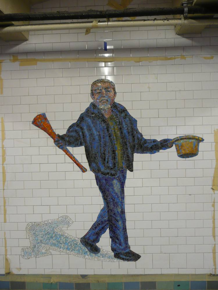 (91k, 750x1000)<br><b>Country:</b> United States<br><b>City:</b> New York<br><b>System:</b> New York City Transit<br><b>Line:</b> IRT West Side Line<br><b>Location:</b> Times Square/42nd Street <br><b>Photo by:</b> Robbie Rosenfeld<br><b>Date:</b> 2/4/2008<br><b>Artwork:</b> <i>The Revelers</i>, Jane Dickson (2007).<br><b>Viewed (this week/total):</b> 2 / 1434